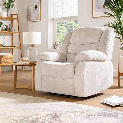 Sorrento Natural Dotted Cord Fabric Recliner Armchair