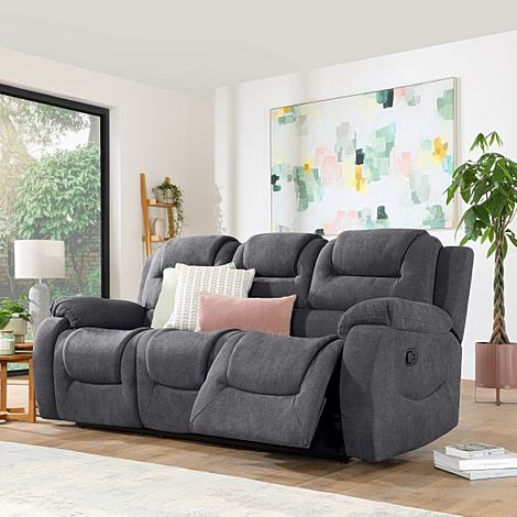 Vancouver Slate Grey Plush Fabric 3 Seater Recliner Sofa