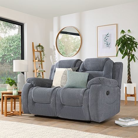 Vancouver Dark Grey Dotted Cord Fabric 2 Seater Recliner Sofa
