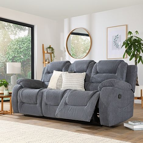 Vancouver Dark Grey Dotted Cord Fabric 3 Seater Recliner Sofa