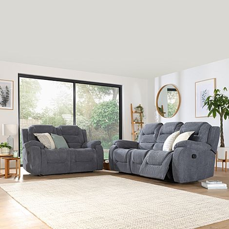 Vancouver Dark Grey Dotted Cord Fabric 3+2 Seater Recliner Sofa Set