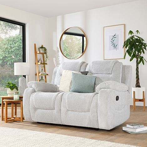 Vancouver Light Grey Dotted Cord Fabric 2 Seater Recliner Sofa