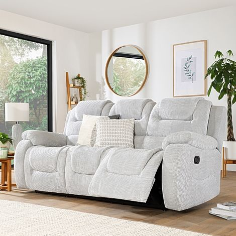 Vancouver Light Grey Dotted Cord Fabric 3 Seater Recliner Sofa