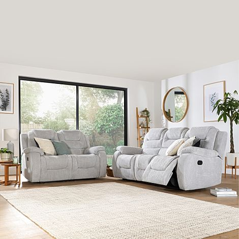 Vancouver Light Grey Dotted Cord Fabric 3+2 Seater Recliner Sofa Set