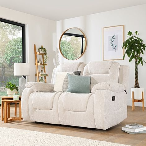 Vancouver Natural Dotted Cord Fabric 2 Seater Recliner Sofa