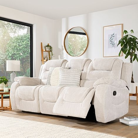 Vancouver Natural Dotted Cord Fabric 3 Seater Recliner Sofa