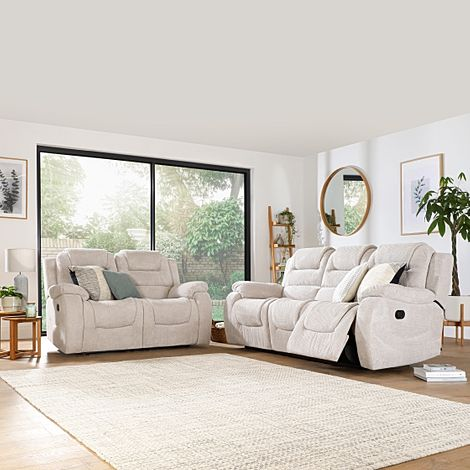 Vancouver Natural Dotted Cord Fabric 3+2 Seater Recliner Sofa Set
