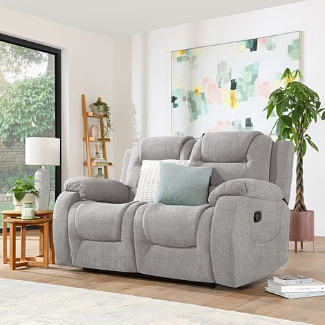 Vancouver Light Grey Fabric 2 Seater Recliner Sofa