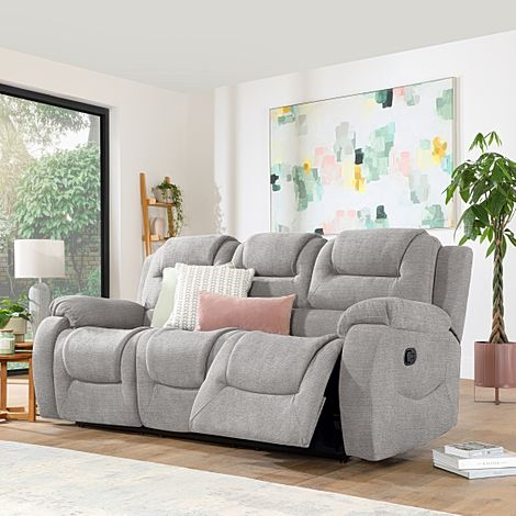 Vancouver Light Grey Fabric 3 Seater Recliner Sofa