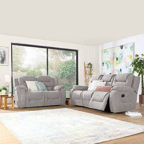 Vancouver Light Grey Fabric 3+2 Seater Recliner Sofa Set
