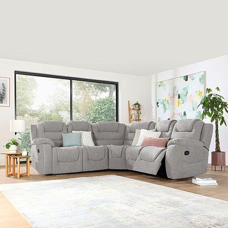 Vancouver Light Grey Fabric Recliner Corner Sofa
