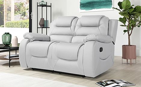 Vancouver Light Grey Leather 2 Seater Recliner Sofa