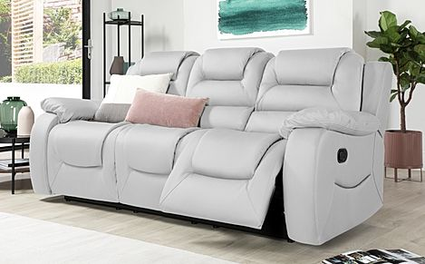 Vancouver Light Grey Leather 3 Seater Recliner Sofa