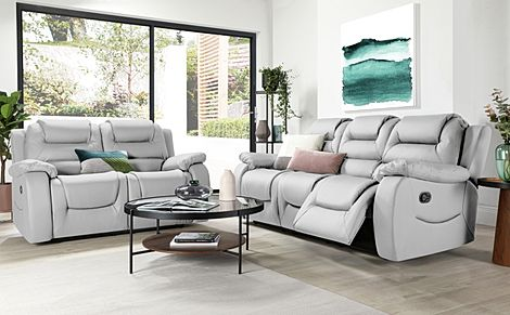 Vancouver Light Grey Leather 3+2 Seater Recliner Sofa Set