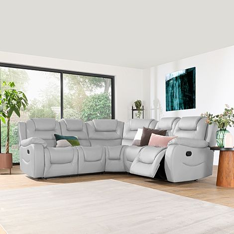 Vancouver Light Grey Leather Recliner Corner Sofa