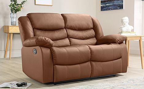 Sorrento Tan Leather 2 Seater Recliner Sofa