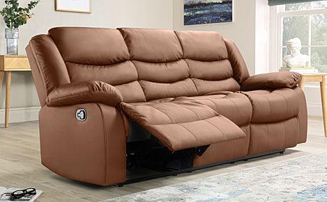 Sorrento Tan Leather 3 Seater Recliner Sofa