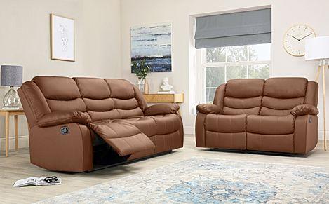 Sorrento Tan Leather 3+2 Seater Recliner Sofa Set