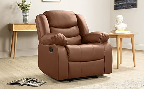 Sorrento Tan Leather Recliner Armchair