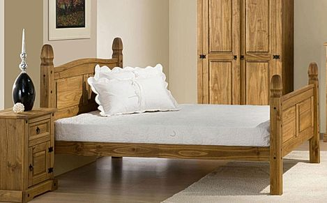 Corona Wooden King Size Bed with High Foot End
