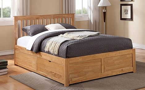 Pentre Wooden Fixed Drawer King Size Bed
