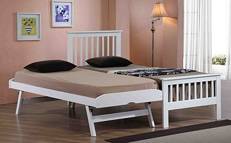 Pentre White Wooden Single Guest Bed