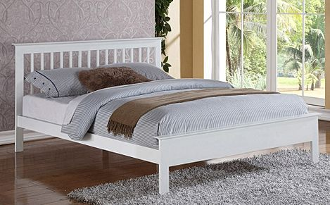 Pentre White Wooden Small Double Bed