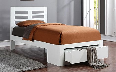 Bretton White Wooden End Drawer Double Bed Only 349 99 Furniture