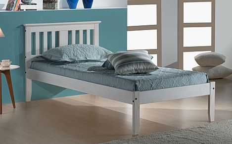 Salvador White Wooden Bed Single