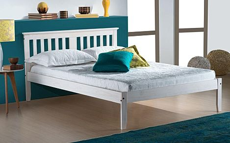 Salvador White Wooden Bed Double
