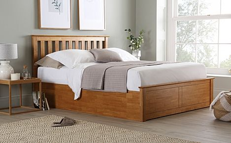 Phoenix Oak Wooden Ottoman Storage Bed Double
