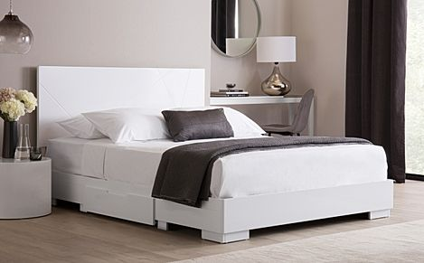 Turin White High Gloss Bed with 2 Drawers King Size