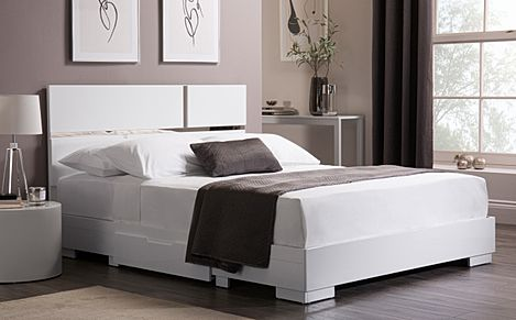 Asti White High Gloss Bed with 2 Drawers King Size