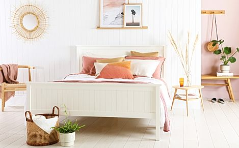 Dorset White Wooden Bed - Double