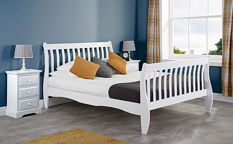 Belford White Wooden Sleigh Double Bed