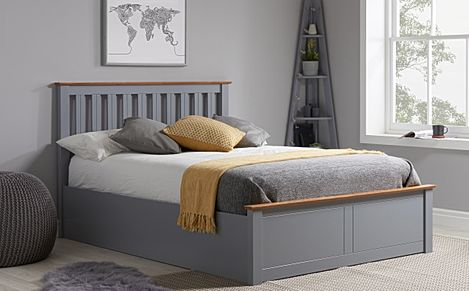 Phoenix Grey Wooden Ottoman Storage Bed Double