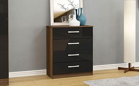 Lynx Walnut and Black High Gloss 4 Drawer Chest of Drawers