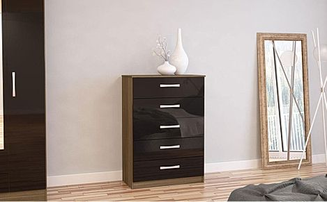 Lynx Walnut and Black High Gloss 5 Drawer Chest of Drawers
