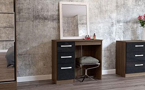 Lynx Walnut & Black High Gloss 3 Drawer Dressing Table