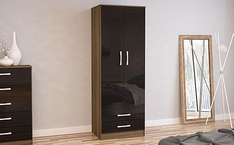 Lynx Walnut and Black High Gloss 2 Door 2 Drawer Wardrobe