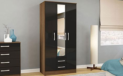 Lynx Walnut and Black High Gloss 3 Door 2 Drawer Wardrobe with Mirror