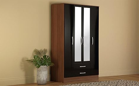 Lynx Walnut & Black High Gloss Large Combination Wardrobe With Mirror