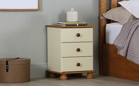 Evesham Cream and Pine 3 Drawer Bedside Table