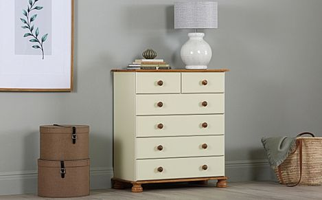 Steens Richmond Cream and Pine 6 Drawer Tall Chest of Drawers 82cm