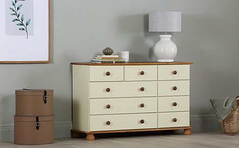 Evesham Cream and Pine 9 Drawer Chest of Drawers