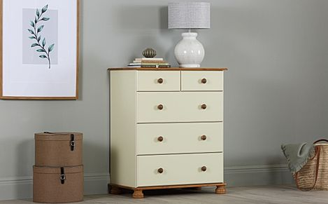 Steens Richmond Cream and Pine 5 Drawer Chest of Drawers 82cm