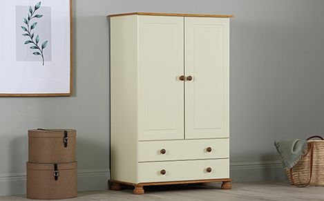 Evesham Cream and Pine 2 Door 2 Drawer Combi Wardrobe