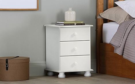 Steens Richmond White 3 Drawer Bedside Table