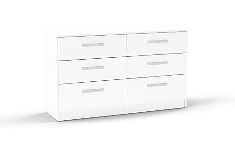 Lynx White High Gloss 6 Drawer Chest