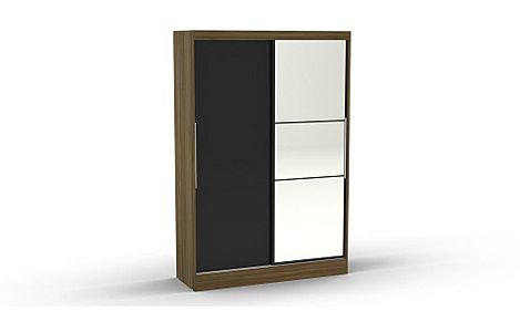 Lynx Walnut & Black High Gloss 2 Door Sliding Wardrobe with Mirror 196cm